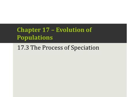 17.3 – The Process of Speciation Chapter 17 – Evolution of Populations 17.3 The Process of Speciation.