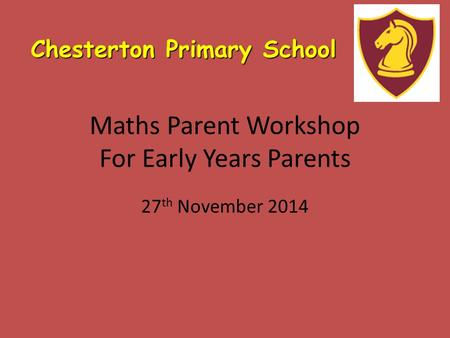 Maths Parent Workshop For Early Years Parents