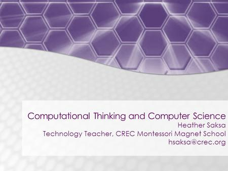 Computational Thinking and Computer Science