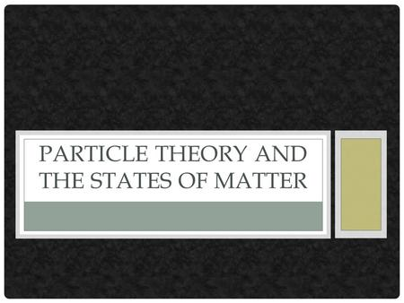 Particle Theory and the states of Matter
