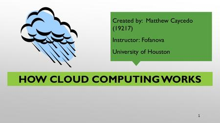 YOUR NAME AS THE FOOTER 1 HOW CLOUD COMPUTING WORKS Created by: Matthew Caycedo (19217) Instructor: Fofanova University of Houston.