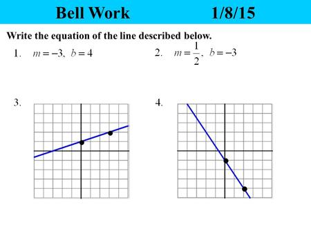 Bell Work1/8/15 Write the equation of the line described below.