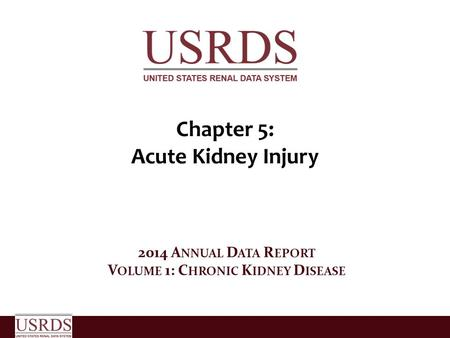 Chapter 5: Acute Kidney Injury 2014 A NNUAL D ATA R EPORT V OLUME 1: C HRONIC K IDNEY D ISEASE.