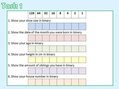 Task Show your shoe size in binary