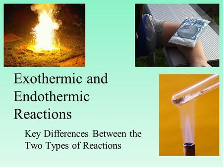 Exothermic and Endothermic Reactions Key Differences Between the Two Types of Reactions.
