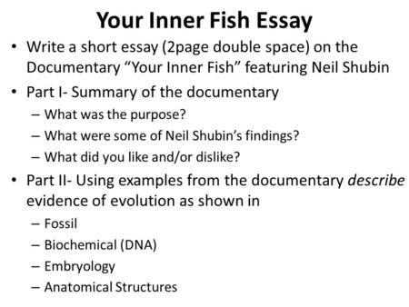 "Your Inner Fish Essay Write a short essay (2page double space) on the Documentary ""Your Inner Fish"" featuring Neil Shubin Part I- Summary of the documentary."