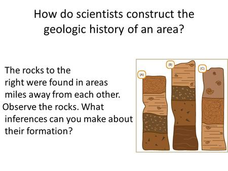 How do scientists construct the geologic history of an area? The rocks to the right were found in areas miles away from each other. Observe the rocks.
