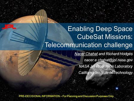 Enabling Deep Space CubeSat Missions: Telecommunication challenge