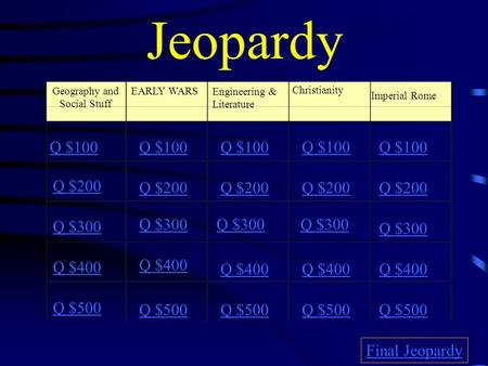 Jeopardy Geography and Social Stuff EARLY WARS Engineering & Literature Christianity Imperial Rome Q $100 Q $200 Q $300 Q $400 Q $500 Q $100 Q $200 Q.