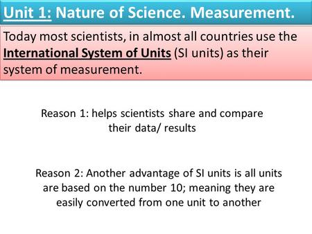 Reason 1: helps scientists share and compare their data/ results