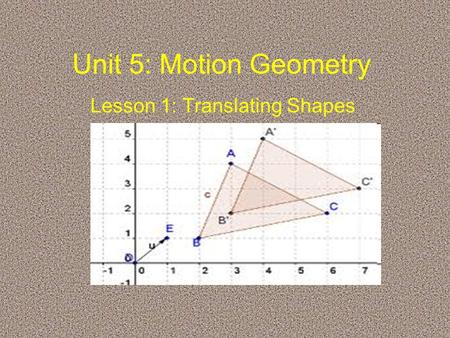 Unit 5: Motion Geometry Lesson 1: Translating Shapes.