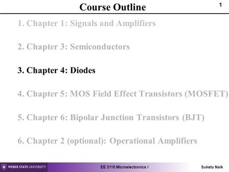 EE 3110 Microelectronics I Suketu Naik 1 Course Outline 1. Chapter 1: Signals and Amplifiers 2. Chapter 3: Semiconductors 3. Chapter 4: Diodes 4. Chapter.
