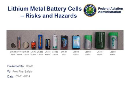 Presented to: By: Date: Federal Aviation Administration Lithium Metal Battery Cells – Risks and Hazards ICAO FAA Fire Safety 09-11-2014 LiMnO2.48Wh LiFeSO2.
