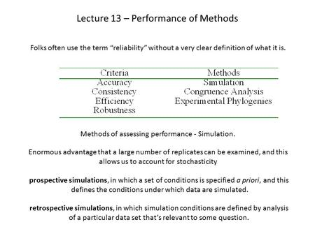 "Lecture 13 – Performance of Methods Folks often use the term ""reliability"" without a very clear definition of what it is. Methods of assessing performance."