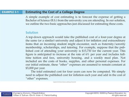 Copyright ©2012, ©2009 by Pearson Education, Inc. All rights reserved. Engineering Economy, Fifteenth Edition William G. Sullivan Elin M. Wicks C. Patrick.