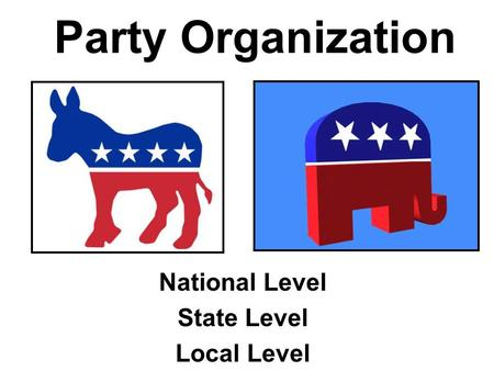 Party Organization National Level State Level Local Level.