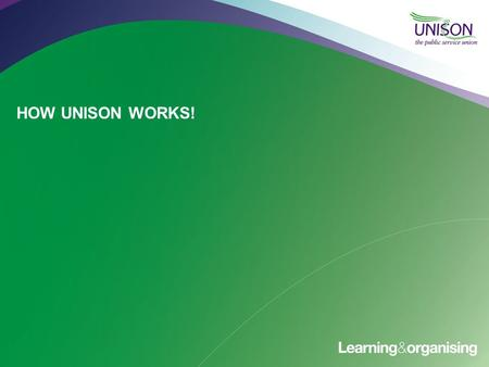 HOW UNISON WORKS!. UNISON In NUMBERS UNISON has more than 1.3 million members, making us one of Europe's largest unions. More than 70% of our members.