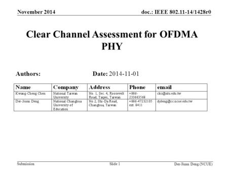 Doc.: IEEE 802.11-14/1428r0 Submission Der-Jiunn Deng (NCUE) Clear Channel Assessment for OFDMA PHY Date: 2014-11-01 Slide 1 November 2014 Authors: