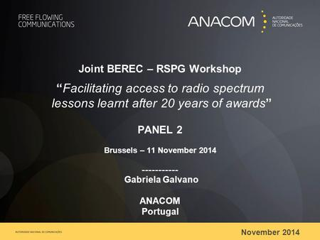 "November 2014 Joint BEREC – RSPG Workshop ""Facilitating access to radio spectrum lessons learnt after 20 years of awards"" PANEL 2 Brussels – 11 November."