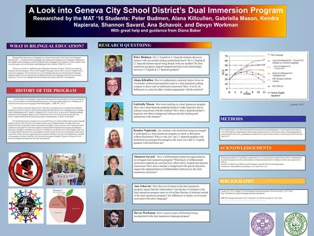 Printed by www.postersession.com A Look into Geneva City School District's Dual Immersion Program Researched by the MAT '16 Students: Peter Budmen, Alana.