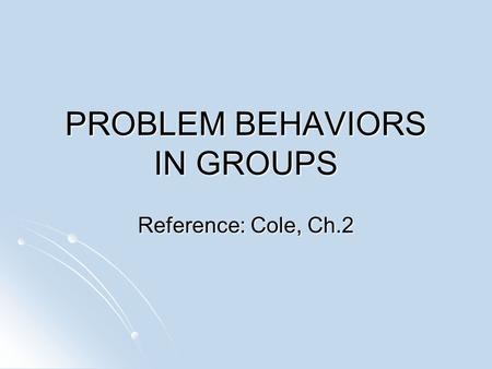 behaviour problems and who to refer to Dealing with violent behavior prevention and problem solving scenario 1: you have a student in your classroom who does not have an individual education plan refer student for an evaluation to determine if special education is needed.
