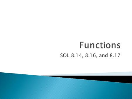 Functions SOL 8.14, 8.16, and 8.17.
