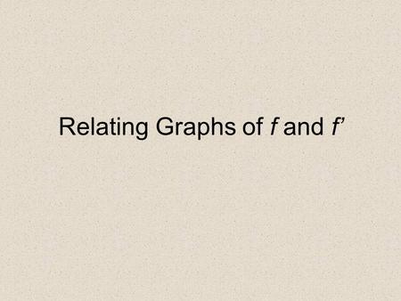 Relating Graphs of f and f'