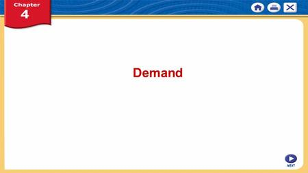 NEXT Demand. NEXT Chapter 4: Demand KEY CONCEPT Demand is the willingness to buy a good or service and the ability to pay for it. WHY THE CONCEPT MATTERS.