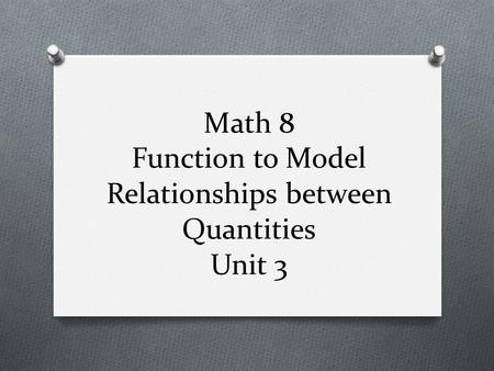 Math 8 Function to Model Relationships between Quantities Unit 3.