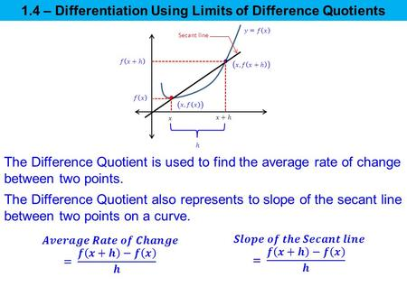 1.4 – Differentiation Using Limits of Difference Quotients The Difference Quotient is used to find the average rate of change between two points. The Difference.