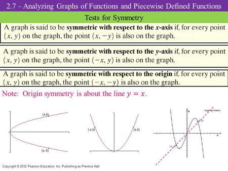 2.7 – Analyzing Graphs of Functions and Piecewise Defined Functions Tests for Symmetry Copyright © 2012 Pearson Education, Inc. Publishing as Prentice.
