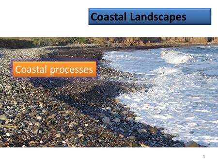 1 Coastal processes Coastal Landscapes. Types of wave: constructive and destructive. Learning objectives: Describe the characteristics of the two wave.