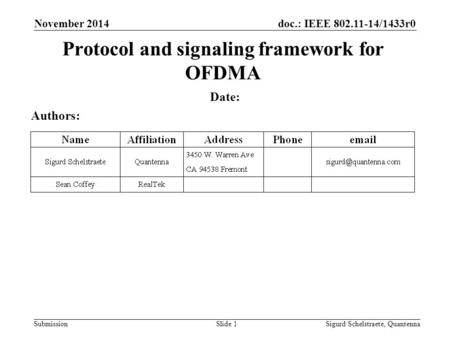 Doc.: IEEE 802.11-14/1433r0 Submission November 2014 Sigurd Schelstraete, Quantenna Protocol and signaling framework for OFDMA Date: Authors: Slide 1.