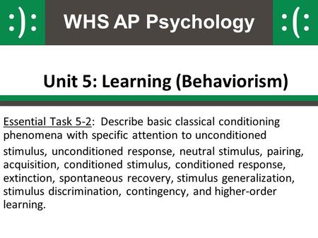 WHS AP Psychology Unit 5: Learning (Behaviorism) Essential Task 5-2: Describe basic classical conditioning phenomena with specific attention to unconditioned.