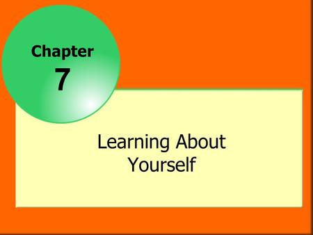 Chapter 7 Learning About Yourself. Objectives After studying this chapter you will be able to  determine how personality, self-concept, interests, attitudes,