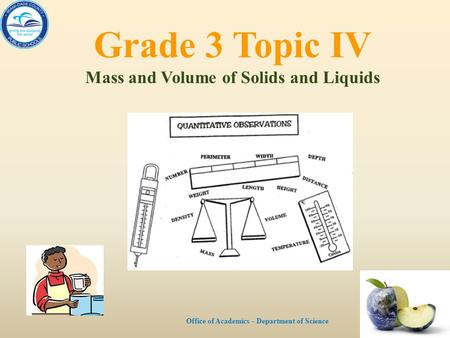 Grade 3 Topic IV Mass and Volume of Solids and Liquids Office of Academics - Department of Science.