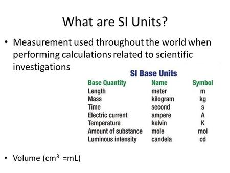 What are SI Units? Measurement used throughout the world when performing calculations related to scientific investigations Volume (cm3 =mL)