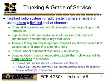 Trunking & Grade of Service
