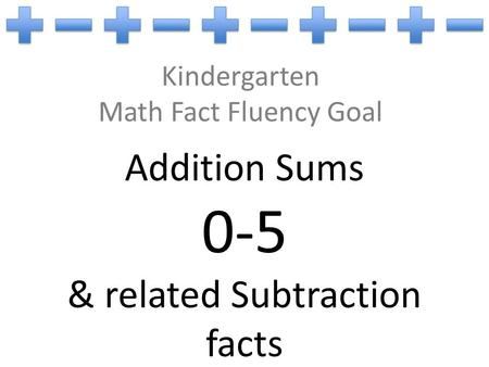 Kindergarten Math Fact Fluency Goal Addition Sums 0-5 & related Subtraction facts.