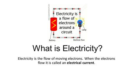 What is Electricity? Electricity is the flow of moving electrons. When the electrons flow it is called an electrical current.