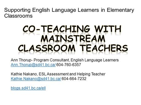 Supporting English Language Learners in Elementary Classrooms