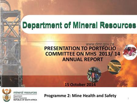 PRESENTATION TO PORTFOLIO COMMITTEE ON MHS 2013/ 14 ANNUAL REPORT 15 October 2014 Programme 2: Mine Health and Safety 1.