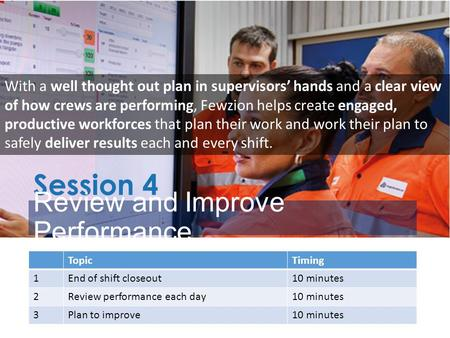 Session 4 Review and Improve Performance TopicTiming 1End of shift closeout10 minutes 2Review performance each day10 minutes 3Plan to improve10 minutes.