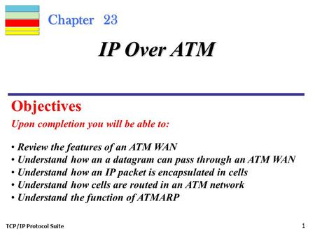 TCP/IP Protocol Suite 1 Chapter 23 Upon completion you will be able to: IP Over ATM Review the features of an ATM WAN Understand how an a datagram can.
