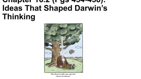 Chapter 16.2 (Pgs 454-458): Ideas That Shaped Darwin's Thinking.