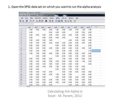 Calculating AIA Alpha in Excel - M. Parent, 2012 1. Open the SPSS data set on which you want to run the alpha analysis.