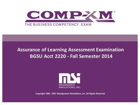 Assurance of Learning Assessment Examination
