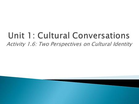 Unit 1: Cultural Conversations Activity 1