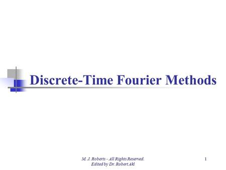 Discrete-Time Fourier Methods