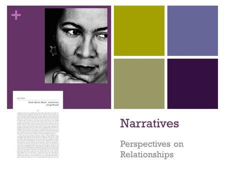 + Narratives Perspectives on Relationships. + Quick Write: Write a summary of a narrative that created an impression on you. This narrative could be a.
